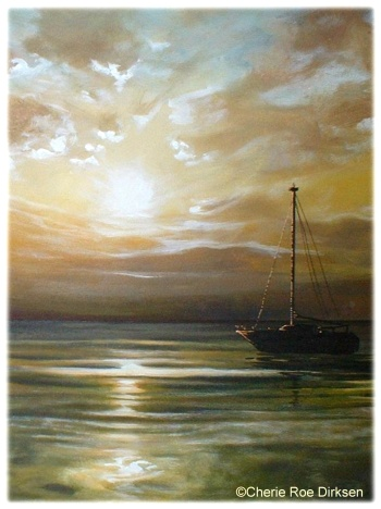 Boat at Sunset Print