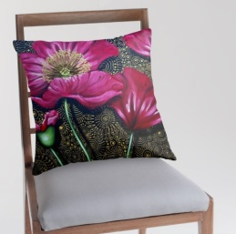 red poppy cushion