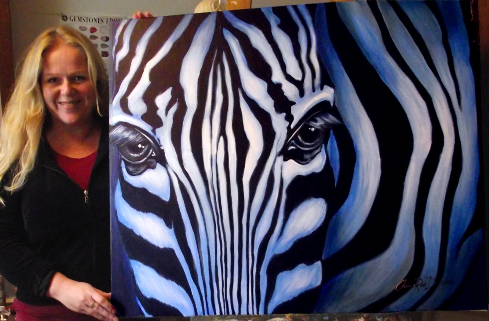 Large Zebra Canvas For Sale Hand Painted