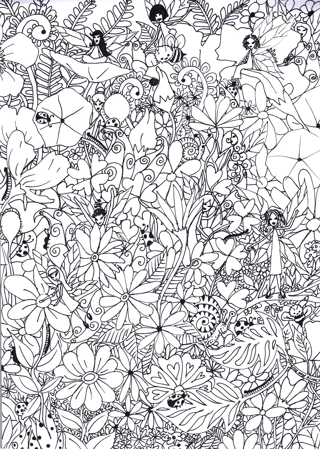 Fairy garden colouring in picture cherie roe dirksen for Garden coloring page