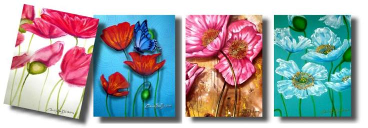 Poppy Art Greeting Cards by Cherie Roe Dirksen