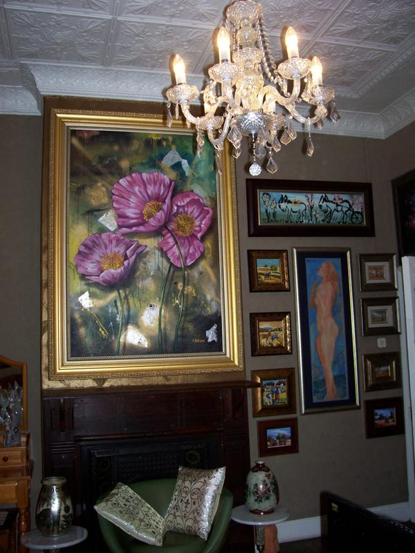 pink poppies framed