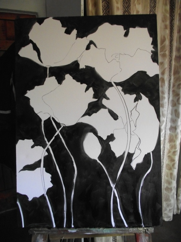 Stage 2 - painting the background black