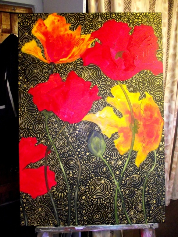 Stage 5 - the first layers of colour are added to the poppies