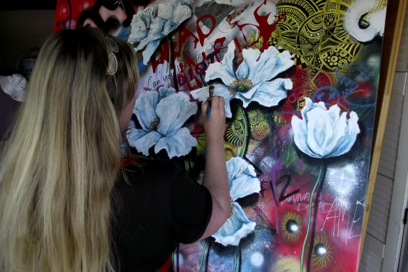 artist with work