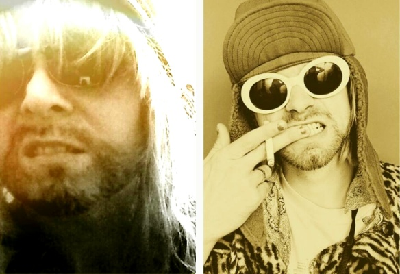 Me (on the left) cross-dressing for my 40th as Kurt Cobain (on the right)