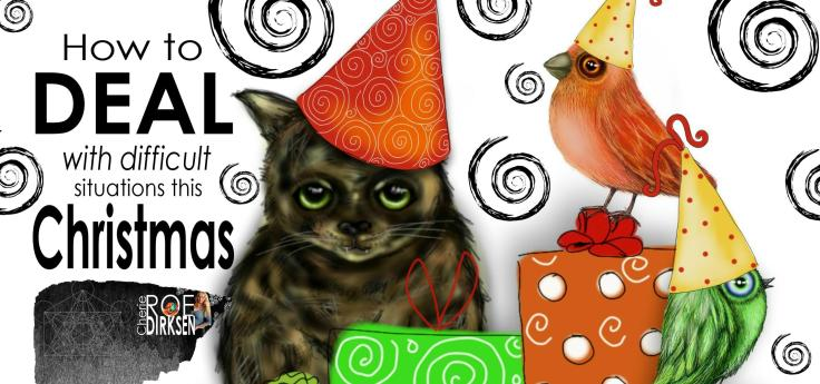 Christmas Cat and Birds by Cherie Roe Dirksen