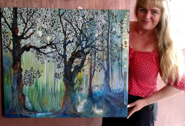 Cherie with painting