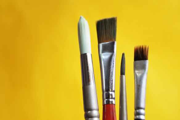 art materials bright brushes close up